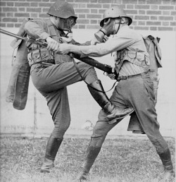 Two US soldiers in hand-to-hand combat training. This photo along with other First World War related pictures were all censored and banned from publication in the United States.