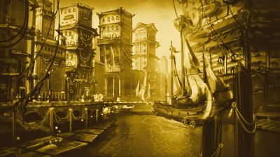 punksthetic:  Steampunk/Cyberpunk-ish City Speed Matte Painting. Duration: Ehh… About 3 hours?