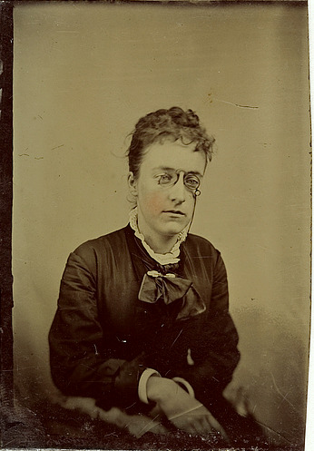 ca. 1856-1910, [tintype portrait of a young lady wearing spectacles] via Harvard College Fine Arts Library, Special Collections