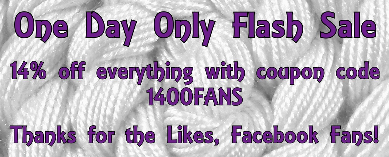 My Facebook page reached 1400 fans today, so to celebrate all the handspun thread in my store is 14% off with coupon code 1400FANS! If you haven't tried my thread yet, grab some today for your next cross stitch, embroidery or needlepoint project! Sale ends October 27th, 2012 4pm PST