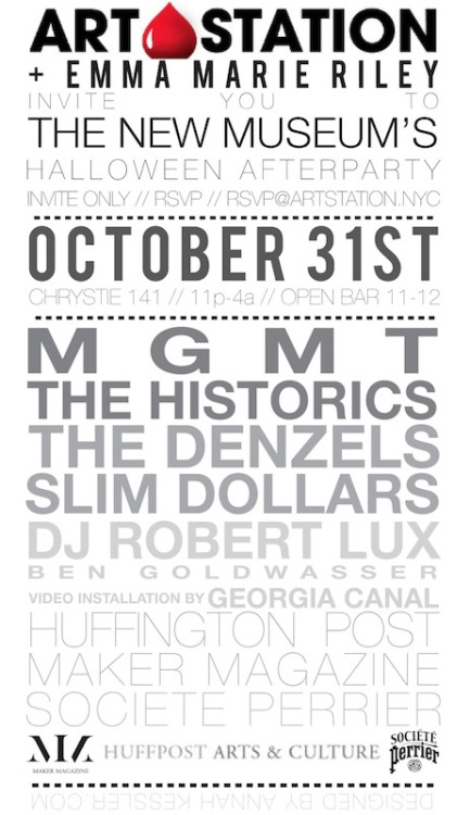wild-eyed-kid:  MGMT performing at The New Museum's Halloween after party? I dont know if this is legit or not (since its not confirmed by MGMT and its so soon) but I thought I should post it.   To win tickets (If you're over 21) go -> here