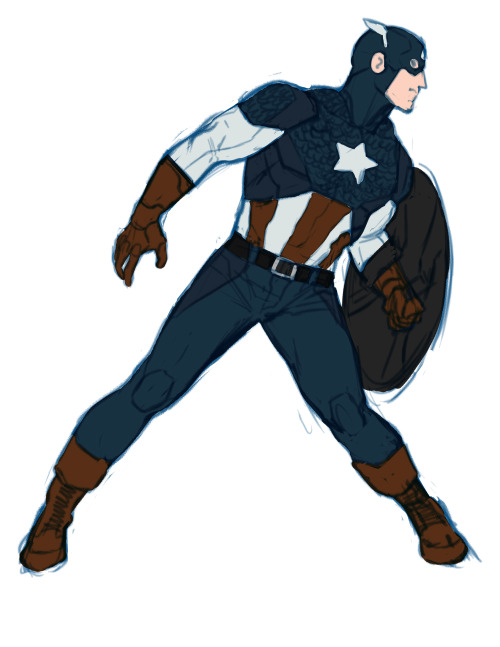 Another day, another Captain America Design This time I tried to riff off of the Marvel Now design by jerome opena. There are a lot of elements about this costume i really like, but in execution, it's just way too clunky and busy. And I understand the mentally to make his costume more soldier looking, but the closer it gets to being real-world-military-looking, the less I feel it looks like a superhero costume. The Ultimate's Cap costume works perfectly in the setting of that world, the idea of a guy running around in pirate boots would look ridiculus. I love the Avengers film costume for that very reason, it completely doesn't look real world, but has enough of reality but an incredible amount of superhero in it. its flashy, graphic, but obviously practical. Mostly what I tried to do was just slim the costume down. Give it some simplicity and ease for drawing. And I added a bit of my flare and creative liberties, mainly to the boots and gloves. And can I just say how much of a sin i find it to take away the Wings? I seriously dont get it. Would you take away batmans ears? i'd argue the same for superman's hair curl, besides the fact of the travesty of it being gone now. These are incredibly iconic elements to the costumes of these characters. Not only that, but the wings serve the purpose to distinguish his silhouette. Without them, the silhouette of him, spiderman, ironman, silver surfer, etc. all look the same. I'm glad some artists like jrjr are still sneaking it in. Long live the wings