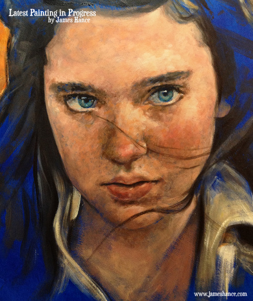 "jameshance:  Latest Painting in Progress - 'Sarah' (Labyrinth) Painting this on 18"" x 14"" gesso'd wooden board, just in case you had any wonderingments :) thanks as always for the absurdly kind words xx  My site / My Facebook"