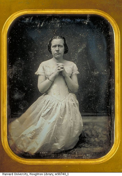 ca. 1840-60, [daguerreotype portrait of actress, Eliza Logan, earnestly praying in a white dress] via Harvard University, Harvard Theatre Collection, Houghton Library
