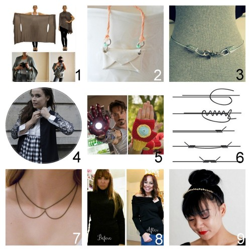 Roundup Nine DIY Jewelry, Beauty, Accessories and Fashion Tutorials PART ONE. Roundup of this past week. October 21st - October 27th, 2012. *For past roundups go here: trebluemeandyou.tumblr.com/tagged/roundup Two Tutorials for the Bina Brianca Wrap with links to tutorials, Bina Brianca site and her PDF Download for the many ways to wear it here. Polymer Clay Envelope Necklace from Sellaire here. via littlecraziness Hardware Store Belt tutorial from Wobisobi here.  Restyled White Shirt into a Dress Tutorial from Make My Lemonade here. Crochet Iron Man Fingerless Gloves Free Pattern from Louie's Loops here. via Halloweencrafts DIY Adjustable Sliding Knot Bracelet Closure Tutorial from ???? here. Easy Chain Collar Necklace Tutorial from You Want Me To Buy That? here. Two Turtlenecks to Cowl Sweater Tutorial from Etcetorize here.  Studded Headband Tutorial from Swellmayde here.