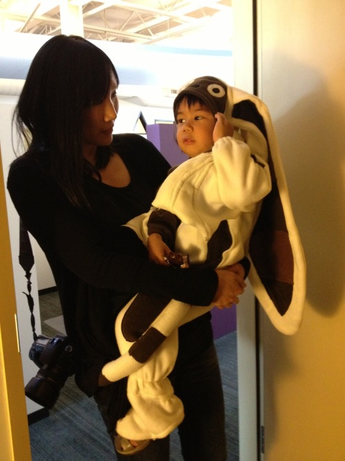 "bryankonietzko:  This is my good buddy Asher in the world's greatest Momo costume. I'm glad I finally got to see him wearing it, while it still fits him. Hopefully next year we'll finally get Lisa to dress up as June, the design we based on her. That will be as ""IRL"" as it gets."