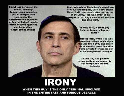 "Darrell Issa, One More Republican Whore Darrell Issa, as chairman of the House Oversight Committee, is no stranger to the misuse of sensitive documents.  In June of this year, he placed into the Congressional Record specific and extensive details from a sealed wiretap application, actions that likely would have led to his prosecution were he not protected by the Constitution's Speech or Debate Clause. (While standing on Benghazi graves, begging for votes) Mr. Issa once again used, or more accurately abused, the power of his chairmanship to post on the committee's website a rash of sensitive communications from the State Department related to the September 11, 2012 attack on the U.S. mission in Benghazi, Libya that resulted in the death of Ambassador Christopher Stevens and three other Americans. As first reported by Foreign Policy, with that posting Mr. Issa also disclosed the names of certain Libyan civilians and local leaders mentioned in the cables, such as a human rights activist leading a campaign against violence in Benghazi, a Benghazi port manager working with the U.S. on an infrastructure project, and a local militia commander Foreign Policy described as ""dishing dirt on the inner workings of the Libyan Interior Ministry.""  As a result of Mr. Issa's actions, their affiliation with the U.S. Benghazi mission was publicly identified and the lives of these people – who were working to keep our country safe – are now at risk. Lying GOP"