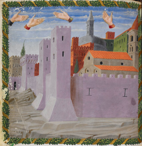 alfiusdebux:  British Library, Harley 1340, f. 12v ('Miniature of disembodied hands floating above the city of Rome'). Vaticinia de Pontificibus (attrib. to Joachim of Fiore). Florence, 2nd quarter of the 15th century. (demonagerie) [see also]