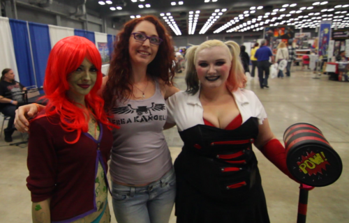Danni Danger with Harley Quinn and Poison Ivy