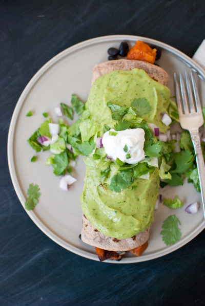 Sweet Potato Burrito with Avocado Salsa Verde with recipe (link)