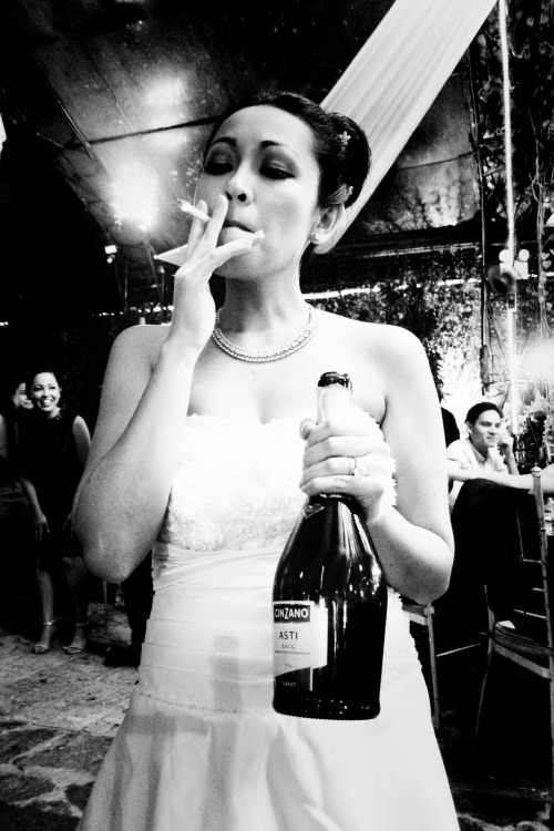 b-surge:  The Bride with booze and a cigarette. (c) Brian Sergio
