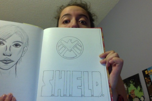 S.H.I.E.L.D. logo for all of our conveniences (it's going to be out of black and grey felt) p.s. ignore the poorly proportioned sketch on the other side