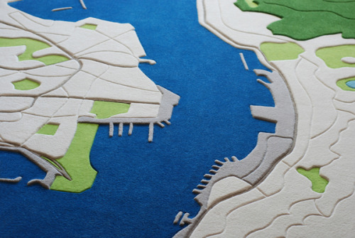 This Landcarpet by Florian Pucher shows an aerial view of the Hong Kong harbour which has variations in height. It is one single unique piece to be auctioned soon. I would love to own this rug.