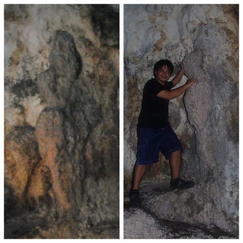 figure of a woman in the cave…and me touching the woman's butt..hahah