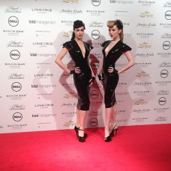 On the red carpet at Lingerie London, representing the fantastic Atsuko Kudo Latex! (I'm also wearing heels by Fabulously Fetish!)