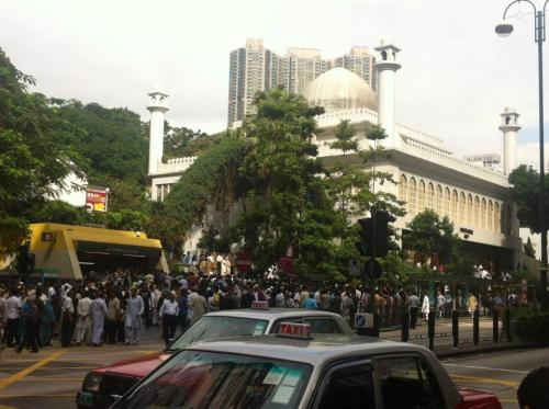 It is Eid in Hong Hong today. Here is a picture I found on Facebook of the busy scene around the Kowloon Mosque.