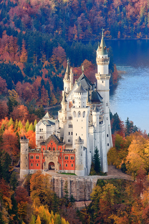 definitelydope:  Neuschwanstein Castle in Autumn colours, Allgau, Bavaria, Germany (by ~ Floydian ~)