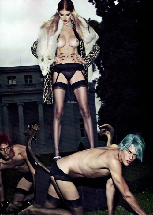 electric-reality:  Lara Stone for Vogue Paris, 2011.  Shoot by Steven Klein and Carine Roitfeld.  'Les Péchés'.