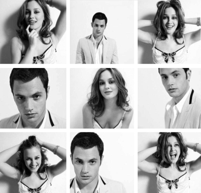 Penn Badgley and Leighton Meester: Photobooth (black and white)