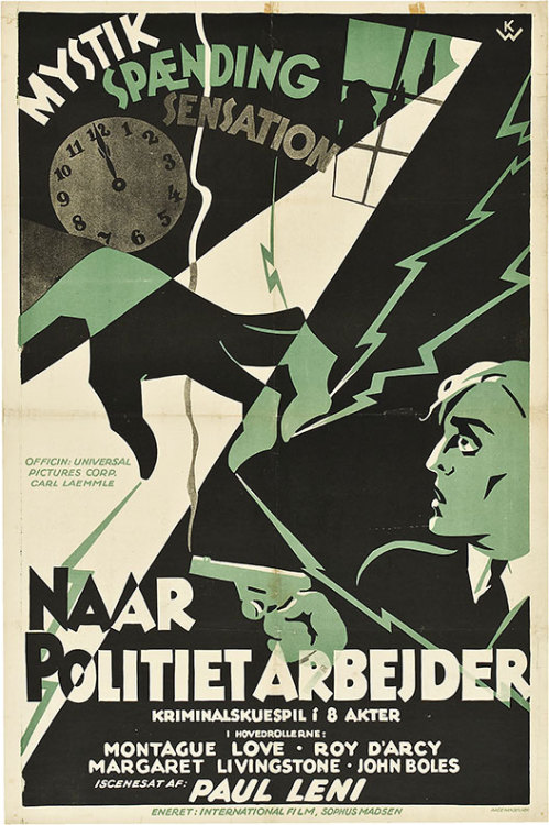 "movieposteroftheday:  Danish poster for THE LAST WARNING (Paul Leni, USA, 1929) Artist: ""KW"" Poster source: Heritage Auctions The Danish title translates as ""When Police Work"" and the poster mysteriously omits the name of the film's star Laura La Plante."
