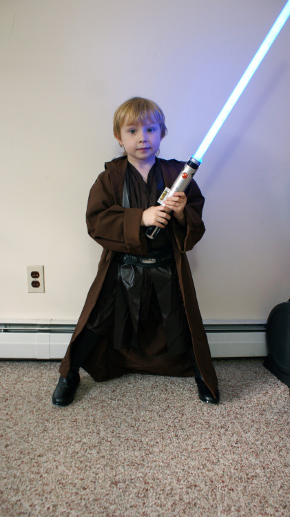geekandsundry:  My son's Halloween costume. He is extremely excited about being Anakin Skywalker/Darth Vader.  I can't wait for Halloween. Hopefully Hurricane Sandy changes her mind and it doesn't rain on Wednesday.