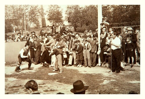 therealbsmile:  Hitting Lessons From Babe Ruth 1939 New York World's FairThat's The Babe on the mic giving some baseball advice while Christy Walsh is ushering the previous young hitter out of harm's way.