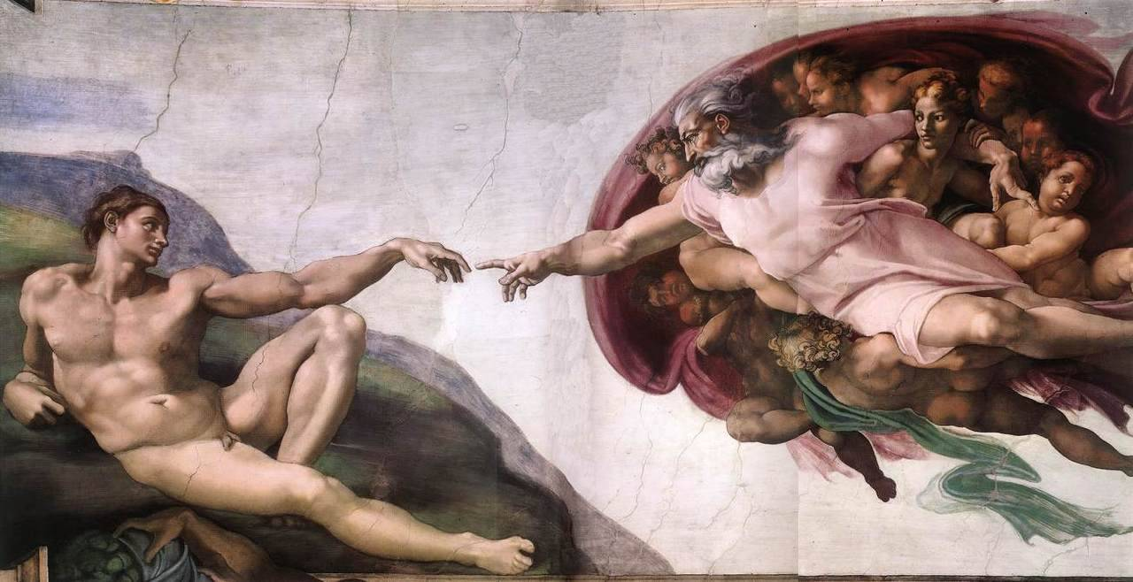 2. Michelangelo Buonarroti Creation of Adam 1510, fresco, Cappella Sistina, Vatican
