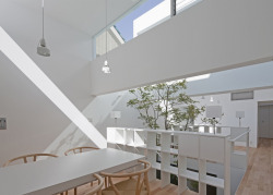 leibal:  Machi House is a minimal home located in Fukuyama, Japan, designed by UID Architects. The building is located in a dense, urban district tucked between taller buildings. The juxtaposed buildings allow to block off unwanted sunlight into the exposed skylight. Windows on the facade were eliminated in place of these skylights.