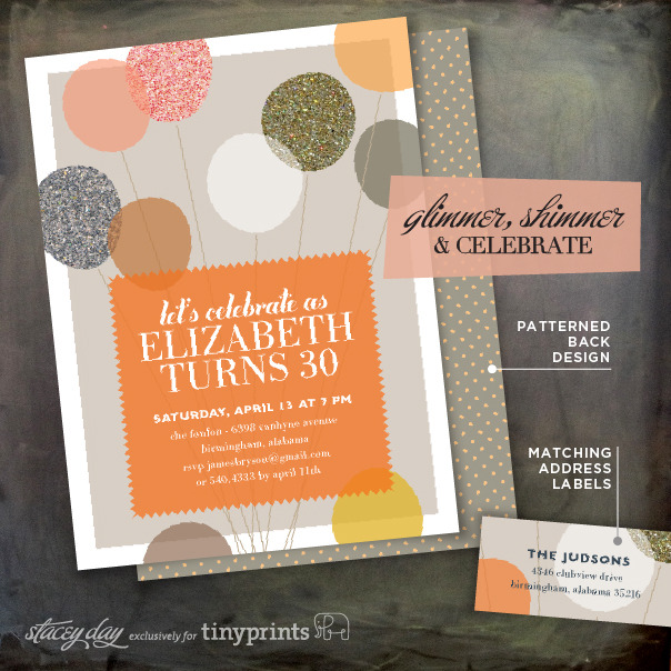 LET'S CELEBRATE WITH GLITTERY BALLOONS This party invite is sure to set the tone for a shimmering, colorful party. It comes in three color options, with a coordinating back design and address label. Check it out at Tiny Prints.