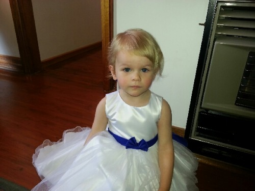 Alexis all ready to be a flower girl in her Aunty's wedding.