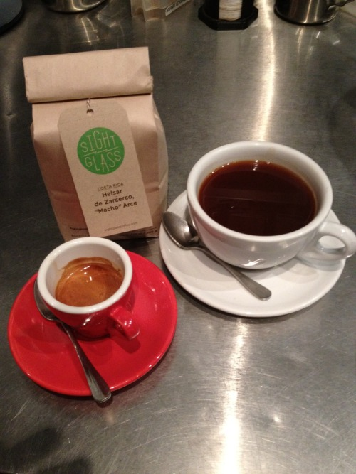 New coffee alert! Helsar de Zarcerco, a beautiful washed coffee from Costa Rica, roasted by Sightglass. Available by the cup on aeropress and, for a limited time, as our guest espresso! Look for notes of marzipan, tropical fruit, and a green apple acidity in an aeropress and wild honey sweetness and notes of winter spices in an espresso.