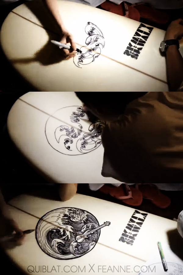 Remember the wave mandala I drew for my boyfriend's surfboard? We finally drew it on his surfboard and took a timelapse video! :D