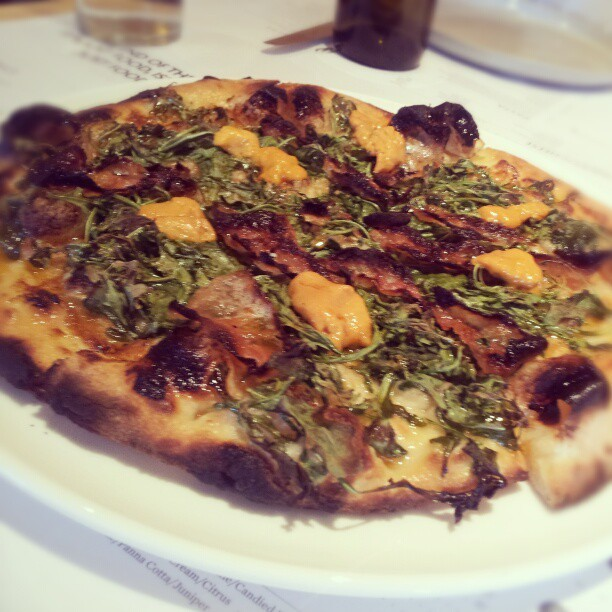 guanciale, uni, roasted garlic, argula pizza (at The Pass and Provisions)
