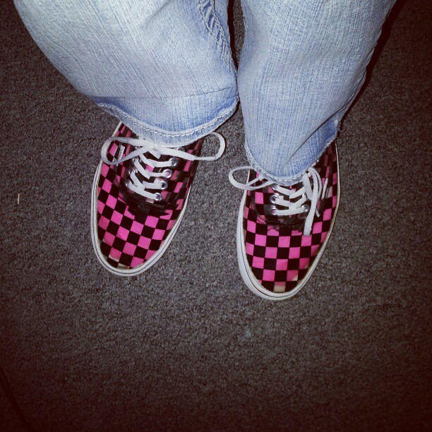 My shoes are totally better than yours too. #clearshoes #vans #clear #pink #pinkandblack #checkerboard #myshoes #shoes