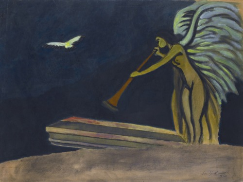 blastedheath:  Léon Spilliaert (Belgian, 1881-1946), Resurrection, 1928. Gouache, watercolour, brush and ink and pencil on paper, 56 x 75cm., 22 x 29½in.