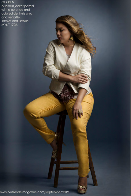 Fall Plus Size Trends: Colored Denim in Fall Colors  Fluvia Lacerda for Plus Model Magazine