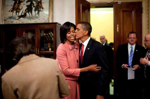 obamafamily:  President Barack Obama kisses First Lady Michelle Obama after his health care address to a joint session of Congress at the U.S. Capitol in Washington, D.C., Sept. 9, 2009. (Official White House Photo by Pete Souza) Most iconic Pete Souza photos of Obama family's first 4 years in the White House