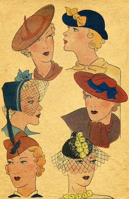 hollyhocksandtulips:  Hat designs, 1930s