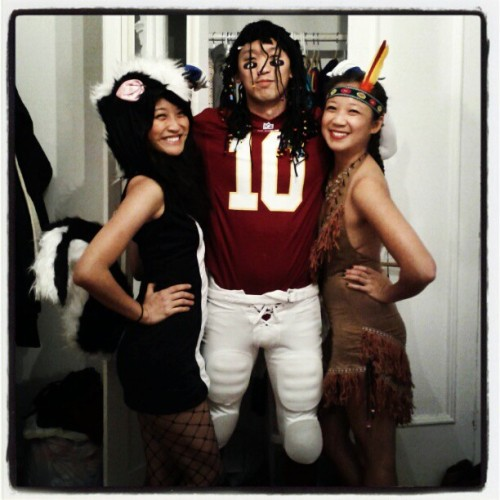 This year for Halloween, I'm a stinky skunk! Pat is RGIII and Teresa is Tiger Lily!