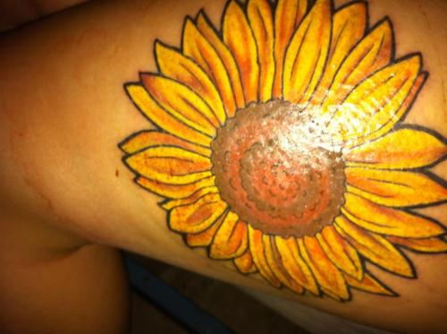 Sunflower Thigh Tattoo Sunflower Tattoo on my