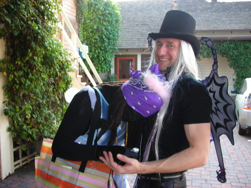 "Brian Henson as the Gothic Fairy King with ""Mystery Guest"" at JHC's 2005 Halloween party."