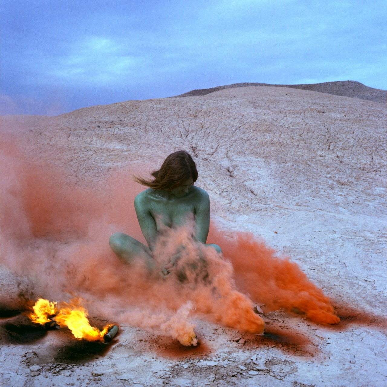 Judy Chicago, Immolation IV from the series Women and Smoke, 1972—Performed with Faith Wilding in the California desert [from the exhibition Ends of the Earth, on view at Haus der Kunst, Munich]