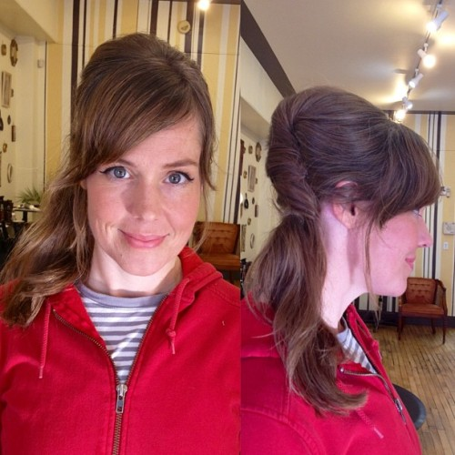 Jenny from @southsidedesire! #retro inspired ponytail  (at The Hive Salon)