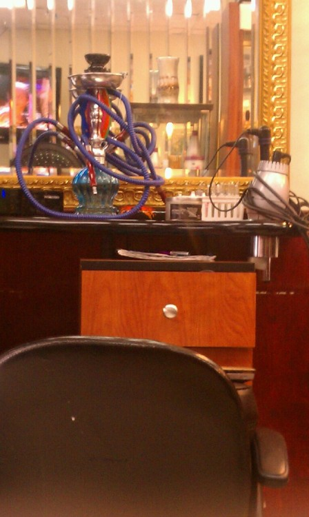 My hairdresser just keeps her Hookah out & open next to the blow dryers , flat irons  n shit .