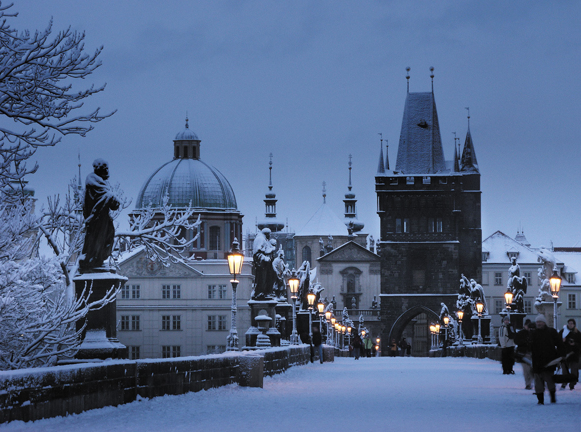 Winter along Prague's Charles Bridge.