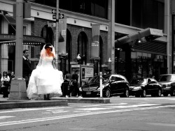 Bride in Times square