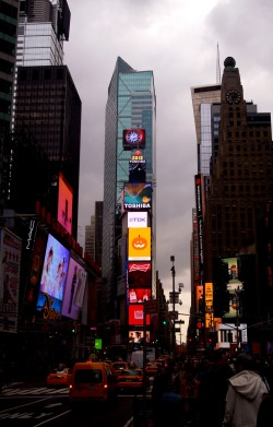 Times square in the grey day
