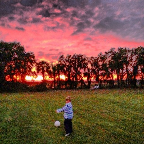 Dribbling off into the HDR sunset. (at Saint Helena Island)