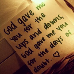 absolutelyinlovewithhim:  #God gave me you.    #love #blessing #couple #relationship #distance #ldr