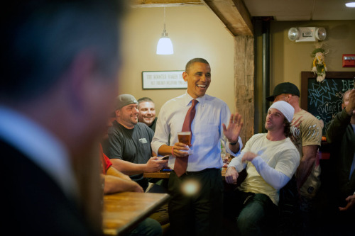 In New Hampshire, just grabbing a pint with POTUS.